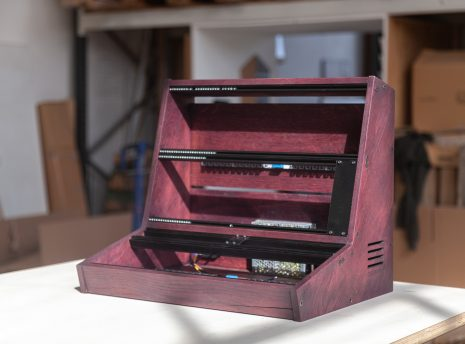 2-Many-Synths---10U-84HP-VCS3-style-Eurorack-case-in-purple-coloured-linseed-oil---IMG_0470-copy